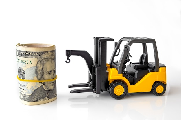 Mini forklift truck load stack of banknotes usa. logistics, transportation, management ideas, industry business commercial concept.