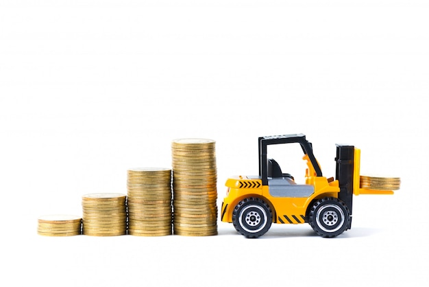 Mini forklift truck loading stack coin isolated on white