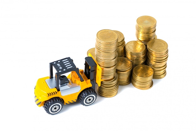 Mini forklift truck loading stack coin with steps of gold coin