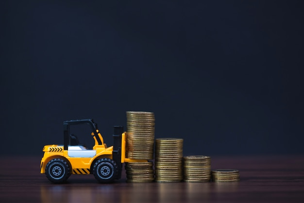 Mini forklift truck loading stack of coin