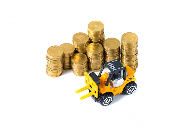 Mini forklift truck and stack coin isolated on white background