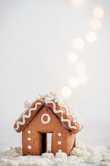 Mini gingerbread house and snow chistmas decoration