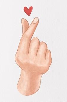 미니 심장 손 기호 귀여운 디자인 요소 손으로 그린 그림