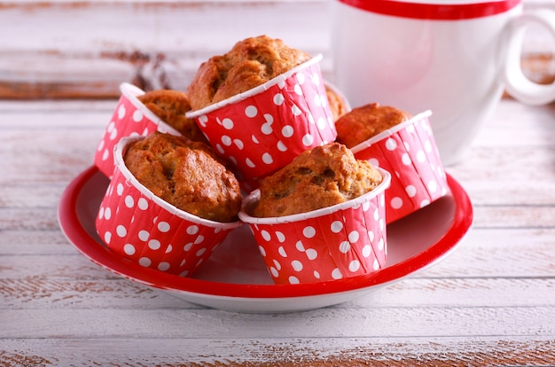 Mini muffins in polka dot cases on plate