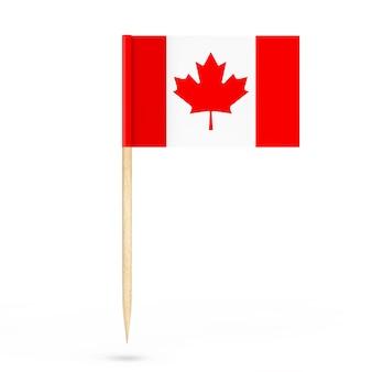 白い背景の上のミニ紙カナダポインターフラグ。 3dレンダリング