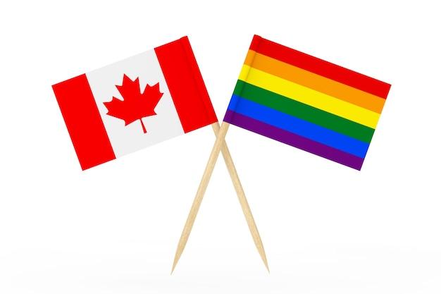 白い背景の上のカナダの旗とミニ紙lgbtレインボーポインター旗。 3dレンダリング