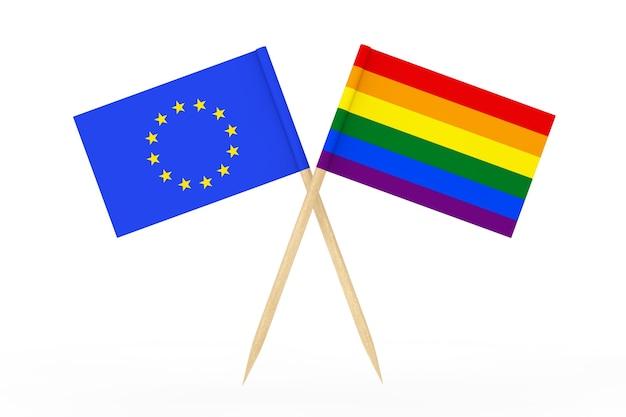 Мини-бумажный флаг указателя радуги лгбт с флагом союза европы на белом фоне. 3d рендеринг