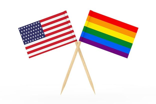 Мини-бумажный флаг указателя радуги лгбт с флагом сша на белом фоне. 3d рендеринг