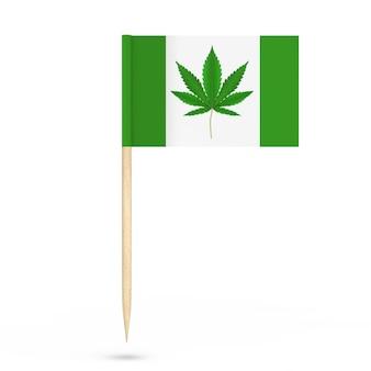 白地にミニペーパー医療用マリファナまたは大麻麻葉ポインターフラグ。 3dレンダリング