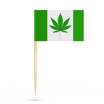 Mini paper pointer flag with medical marijuana or cannabis hemp leaf sign on a white background. 3d rendering