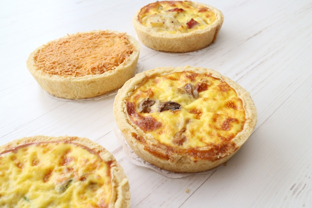 Mini pizza with different topping meat cheese and tomato
