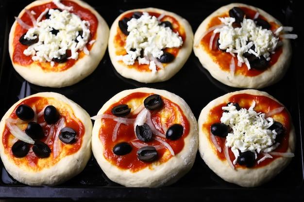 オーブントレイのミニピザ