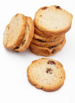 Mini round toasts of bread with raisins