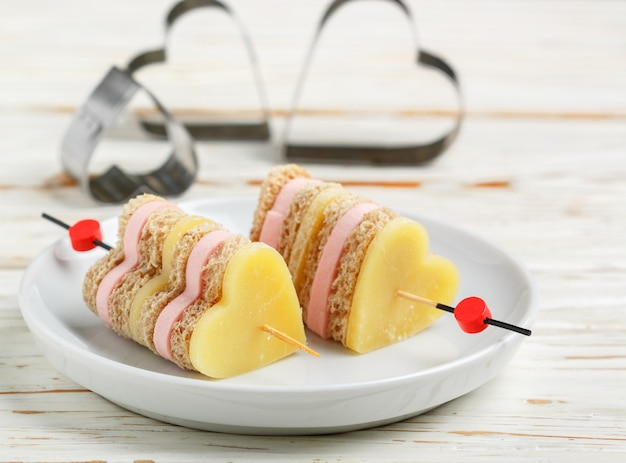 Mini sandwiches skewers. valentine's day