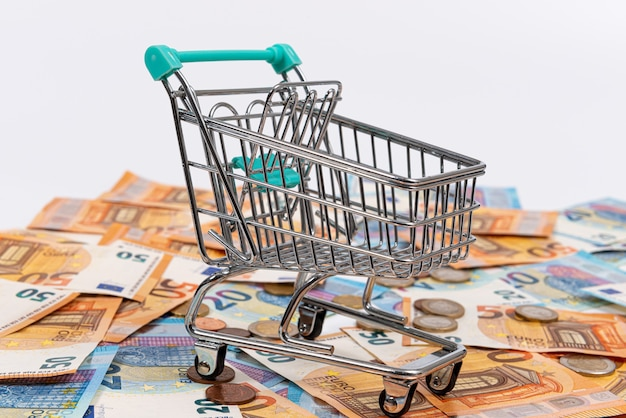 Mini shopping cart on the background of euro coins and banknotes, close-up