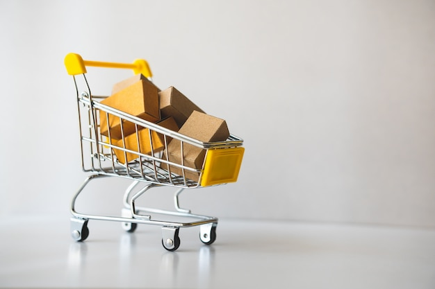 Mini shopping cart contain paper box