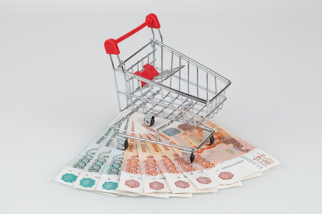 Mini shopping cart on pile of rouble banknotes