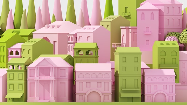 Mini toy old city concept pink and green isolated on white, 3d illustration