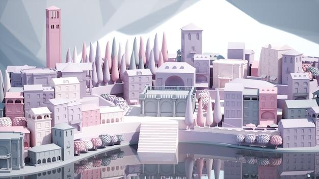 Мини-игрушка старый город вниз по городу на маленьком острове, 3d иллюстрация