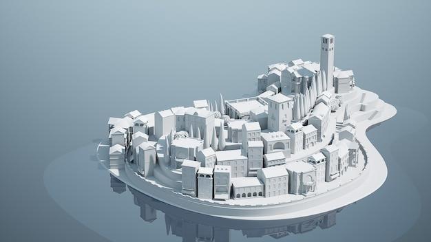 ミニおもちゃ旧市街の小さな島、3dイラスト