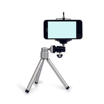 스마트 폰 및 마이크 도구로 라이브 비디오를 스트리밍하는 소형 삼각대.