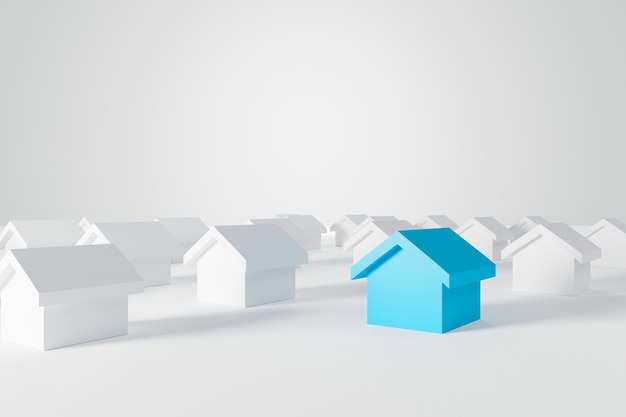 Miniature blue house in among white houses for real estate property industry. 3d illustration