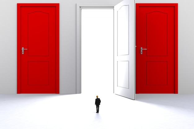 Miniature businessman standing in front of open white door on white wall background