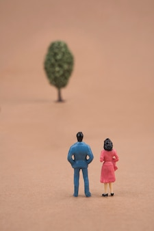 Miniature couple looking at the tree on brown