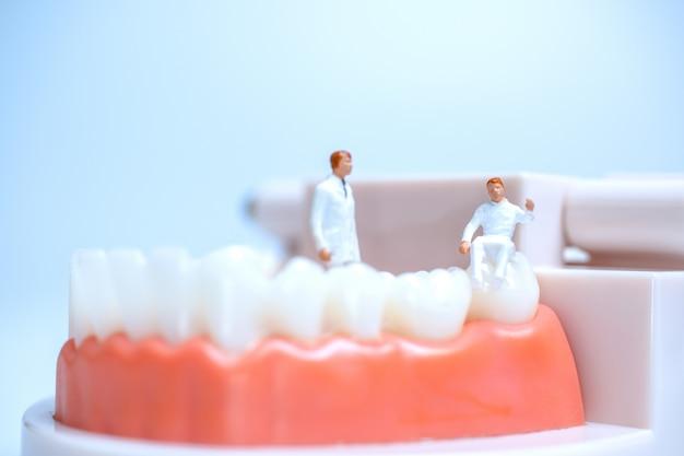 Миниатюрные стоматологи наблюдают и обсуждают зубы человека с деснами