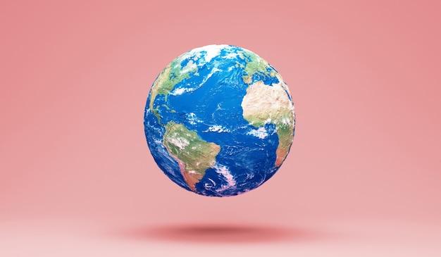 핑크 스튜디오 배경에 미니어처 지구 행성