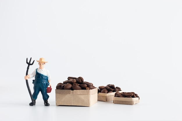 Miniature farmer figure model standing beside cardboard boxes containing coffee beans isolated on white background