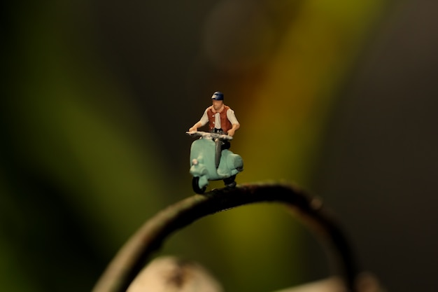 Miniature figure ride motorcycle on the branch