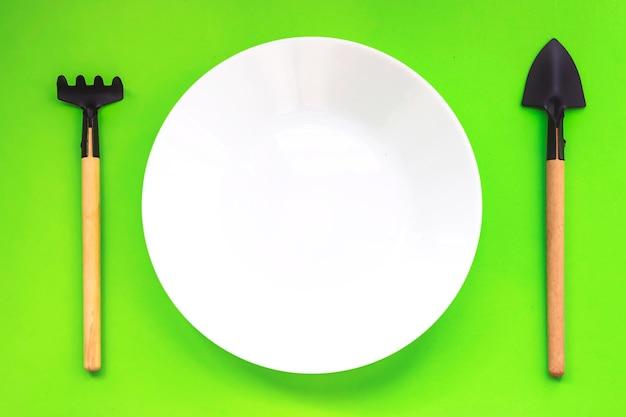 녹색 배경에 미니어처 원예 도구와 흰색 접시. 평면도. 제로 폐기물, 묘목, 재배. 농업, 원예. 가정 정원 가꾸기.