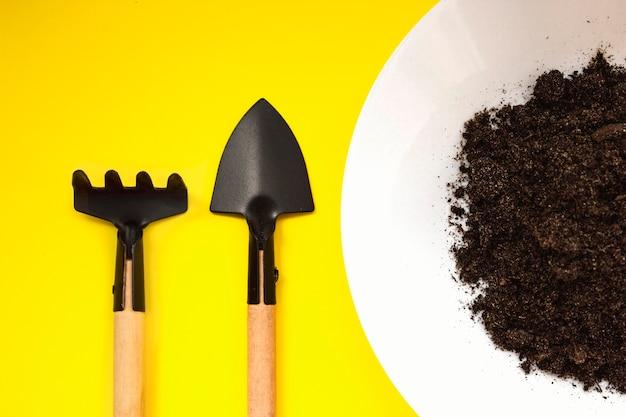 소형 원예 도구, 노란색 배경에 바닥이 있는 접시. 가정 원예, 묘목, 재배. 농업, 원예. 확대. 식물 발아와 성장. 확대.