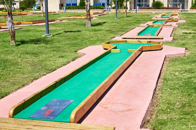 Miniature golf in hotel. entertainment for tourists at the hotel