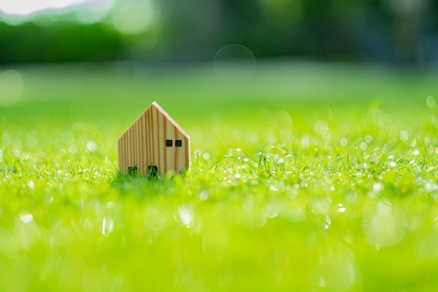 Miniature house model on grass background