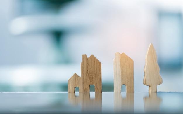 Miniature house model on ground