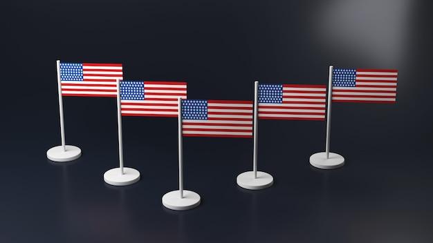 テーブルの上のミニチュアアイコン、3d。ラックにアメリカと韓国の旗。