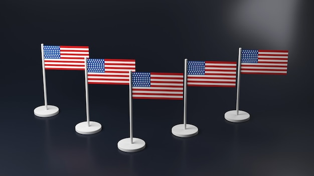 Miniature icons on the table, 3d. flags of america and korea on the racks.