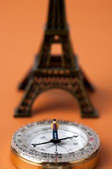 Miniature man standing on a compass