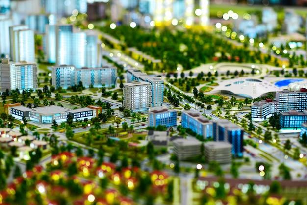 Miniature model of a modern green city