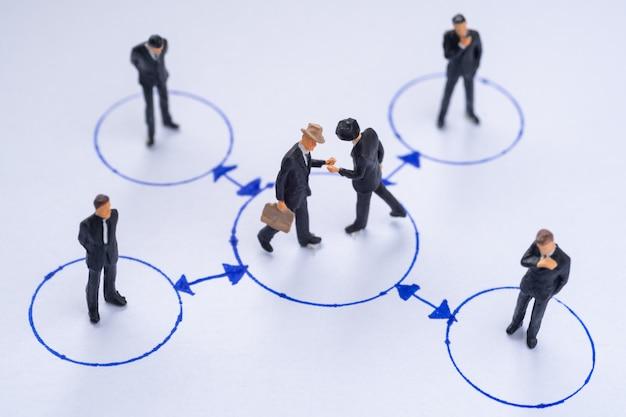 2人のビジネスマンのミニチュアが、ネットワークでつながったwebの中心で握手を交わし、ビジネスでチームとしてサポートし、働いている同僚に囲まれています。