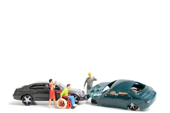 Miniature people : Accident scene, car crash on white background