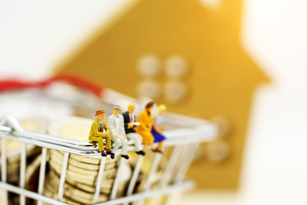 Miniature people, businessmen sitting on shopping cart with coins