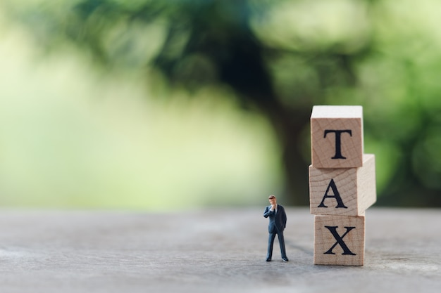 Miniature people businessmen standing with wood word tax