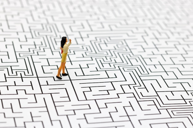 Miniature people: businesswoman standing on center of maze.