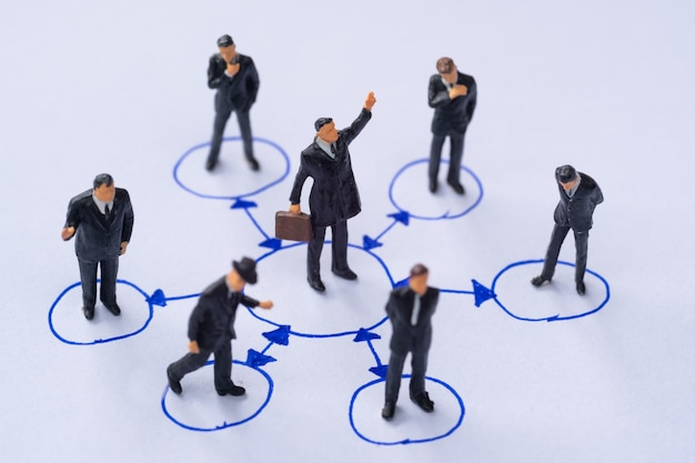 Miniature people in circle social network business concept.
