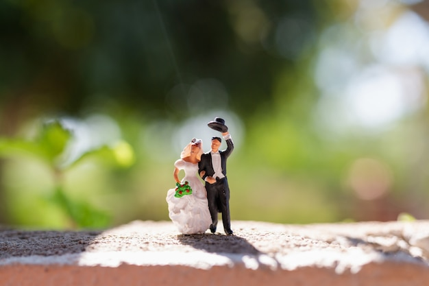Miniature people :  couple standing in the park