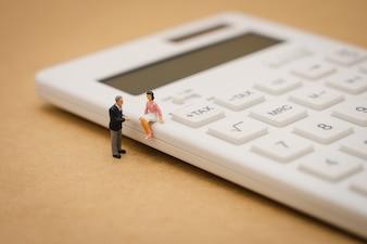 ミニチュアの人々電卓でその年のキューの年収(TAX)を支払います。