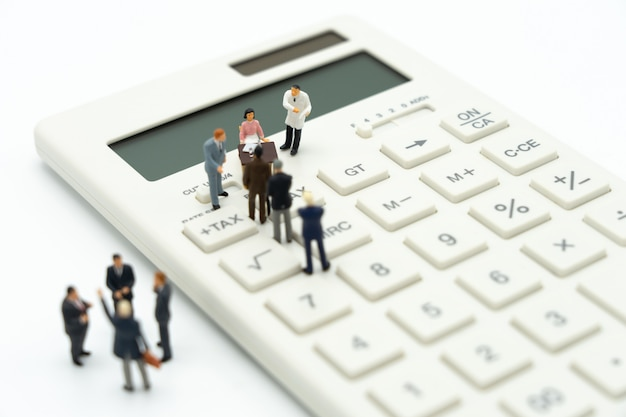 Miniature people pay queue annual income